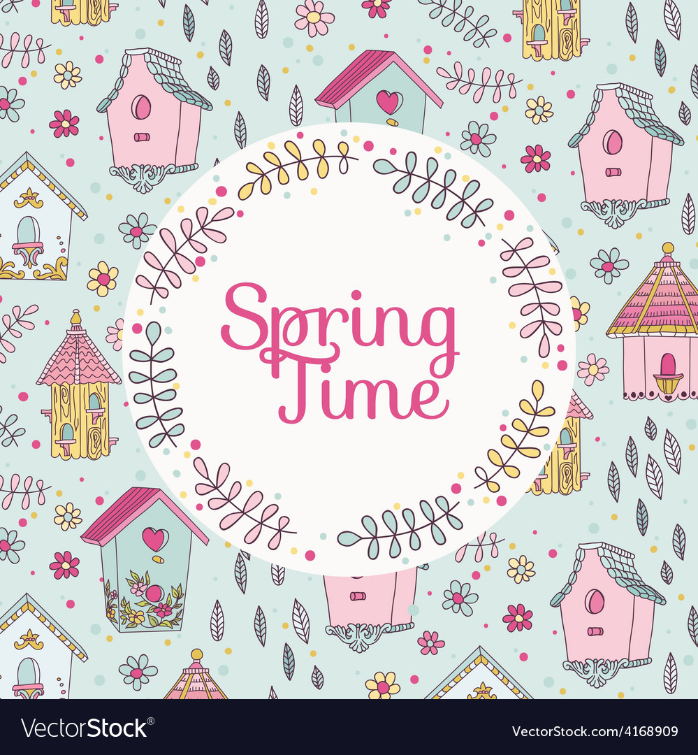 Cute bird house card - spring time vector   Price: 1 Credit (USD $1)