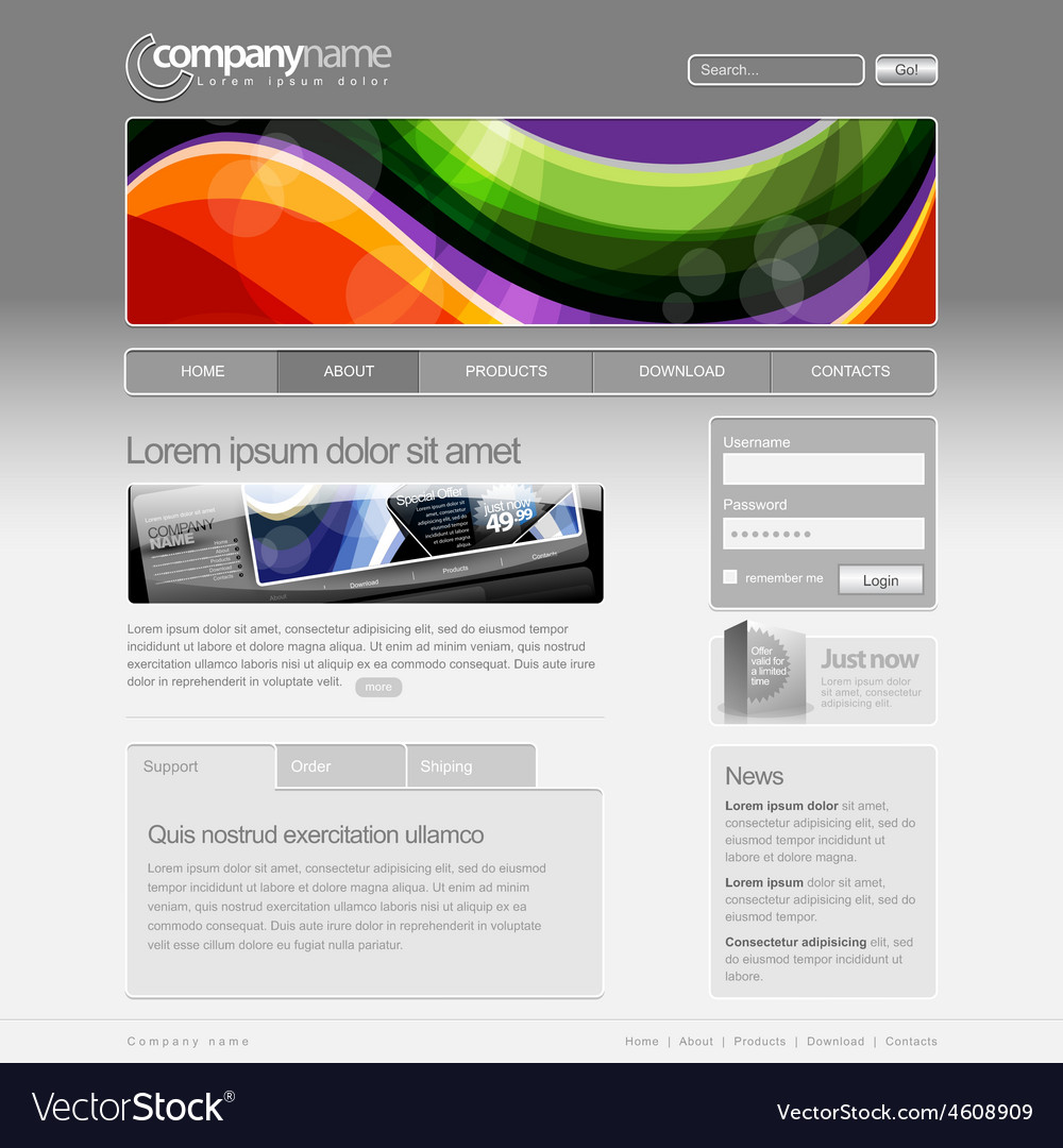 Gray website template 960 grid vector | Price: 1 Credit (USD $1)