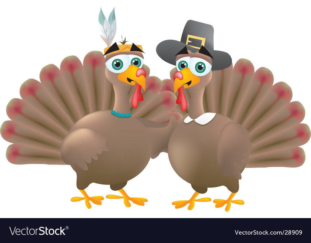 Indian and pilgrim turkeys vector | Price:  Credit (USD $)