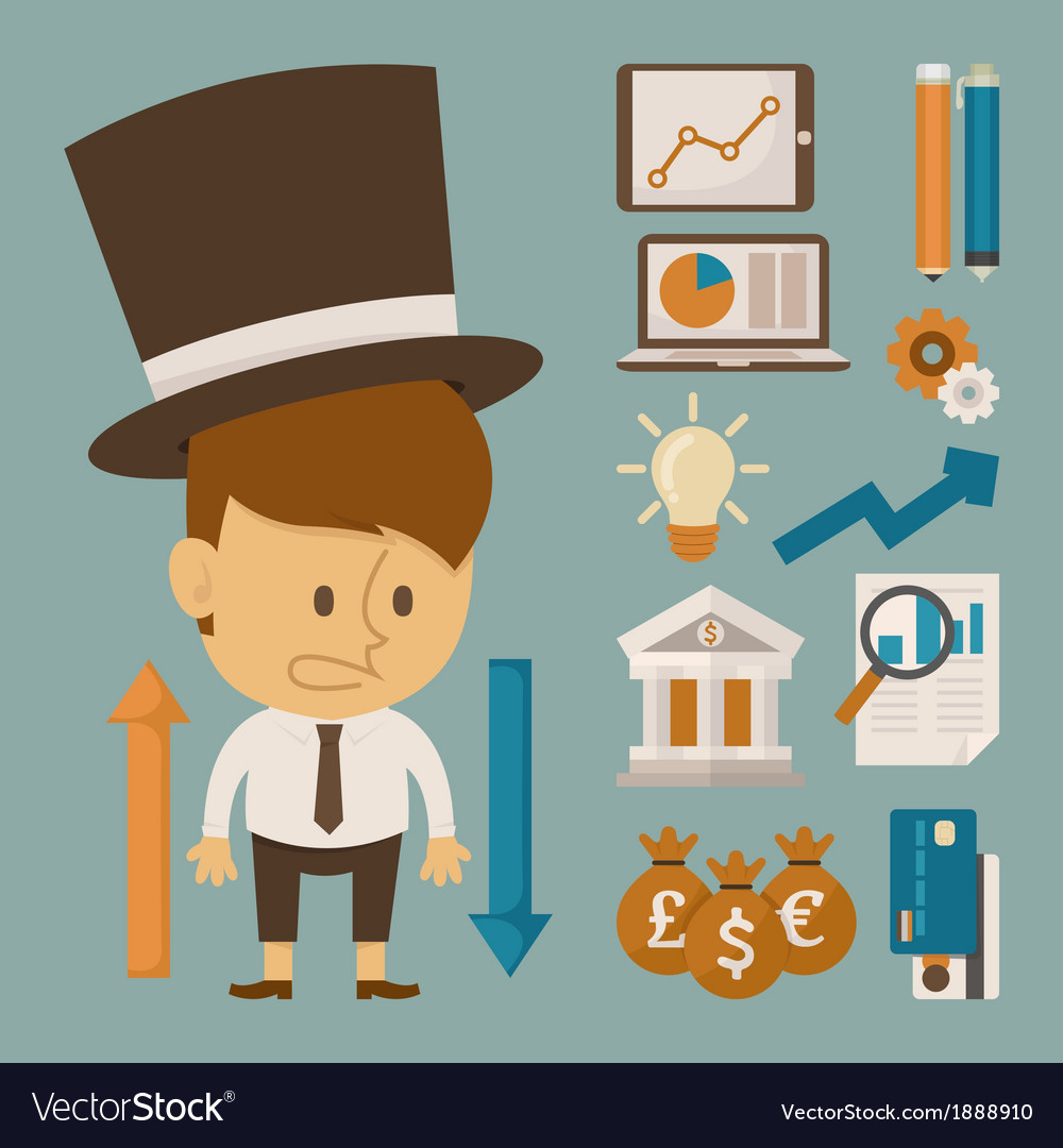 Businessman and tool character flat design vector | Price: 1 Credit (USD $1)