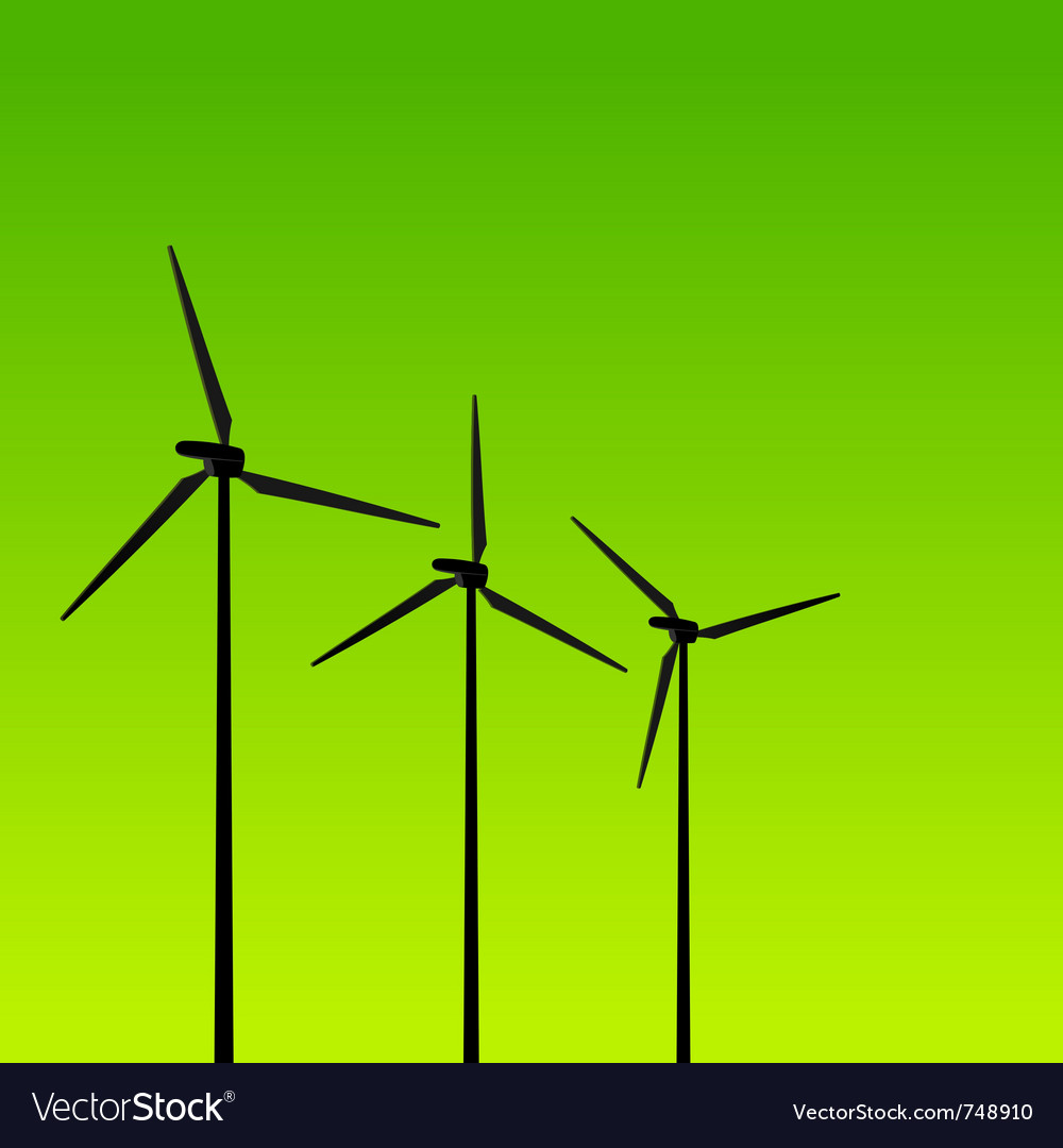 Eco energy turbines on green vector | Price: 1 Credit (USD $1)