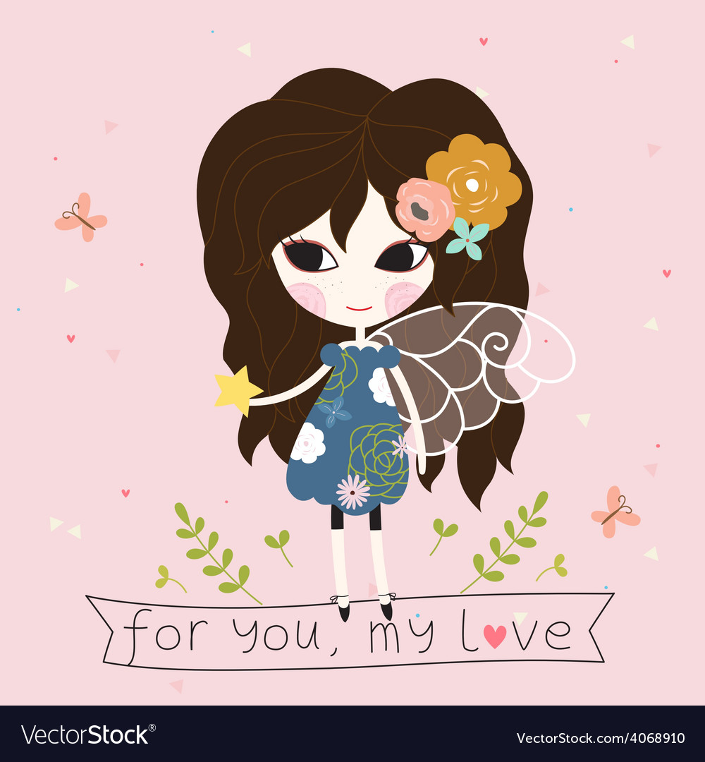 Fairy with star in the hand card vector   Price: 1 Credit (USD $1)