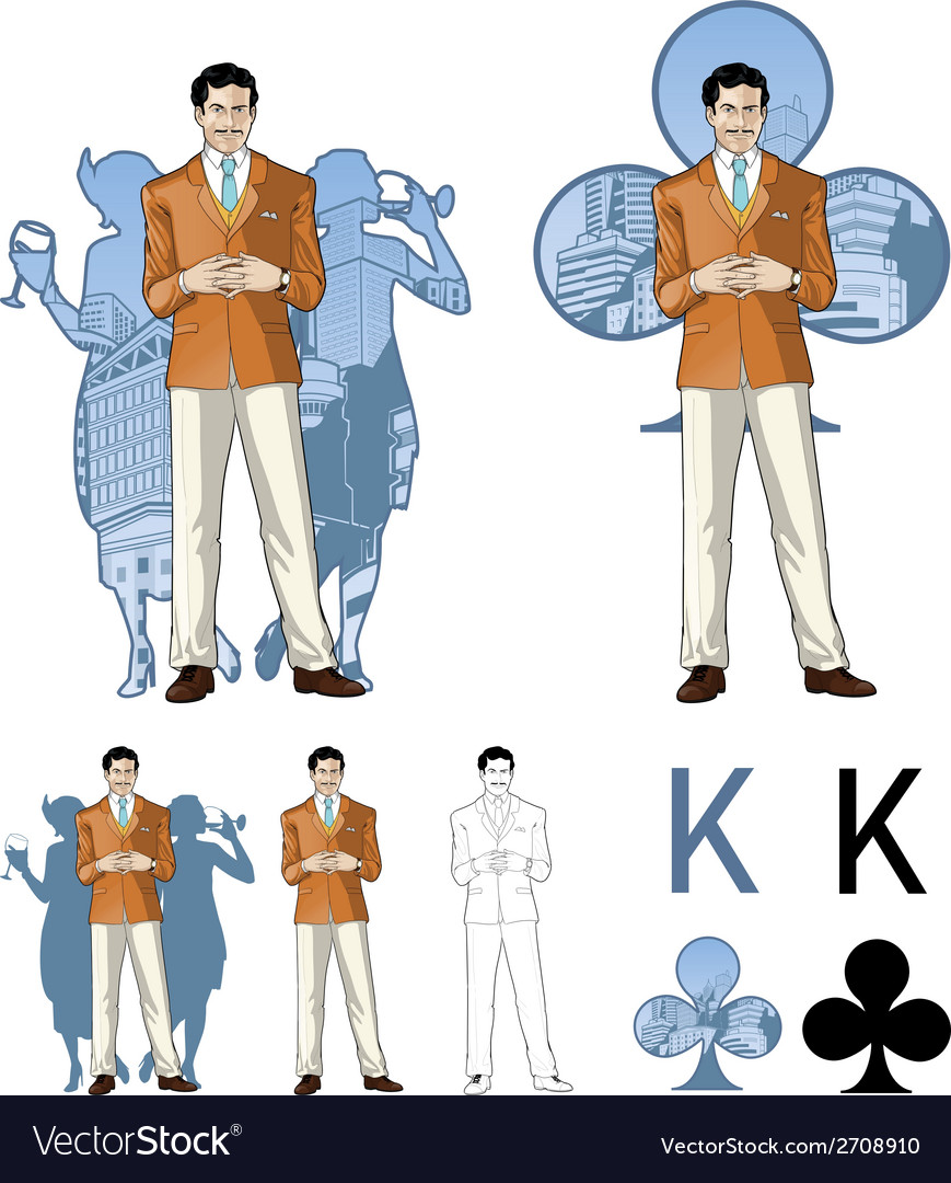 King of clubs caucasian male party host with vector | Price: 1 Credit (USD $1)