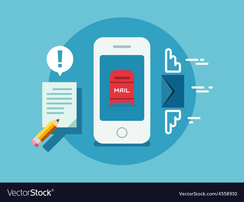 Newsletter notification on smart phone screen flat vector | Price: 1 Credit (USD $1)