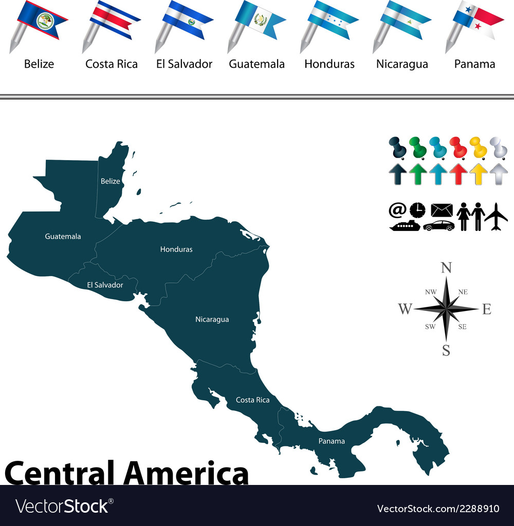 Political map of central america with flags vector | Price: 1 Credit (USD $1)