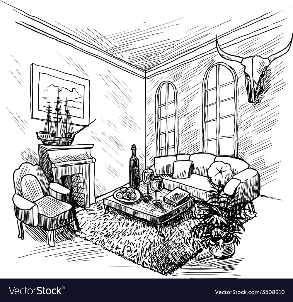 Room sketch background vector | Price: 1 Credit (USD $1)