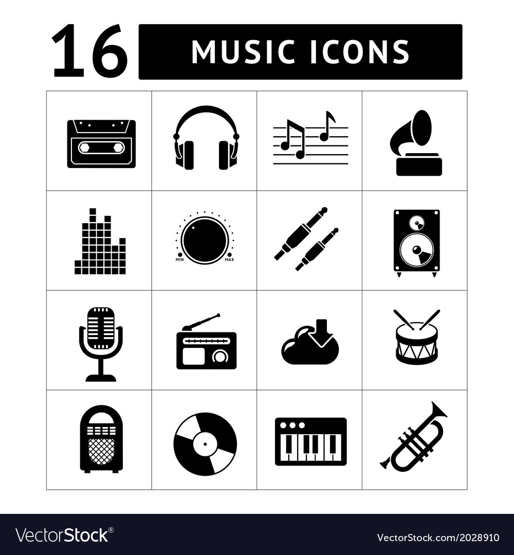 Set icons of music and sound vector | Price: 1 Credit (USD $1)