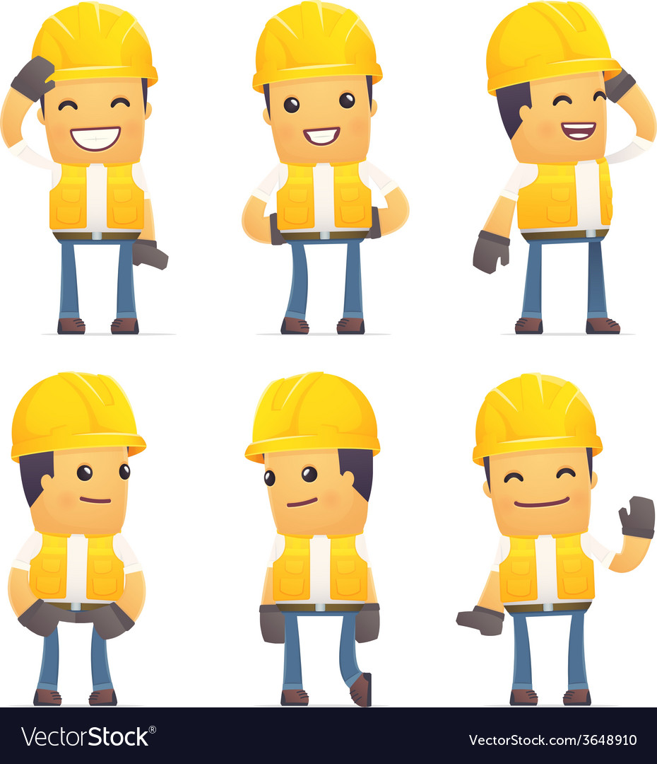 Set of contractor character in different poses vector | Price: 3 Credit (USD $3)