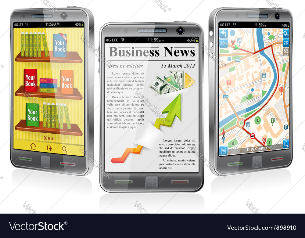 Smartphones with various applications vector | Price: 3 Credit (USD $3)