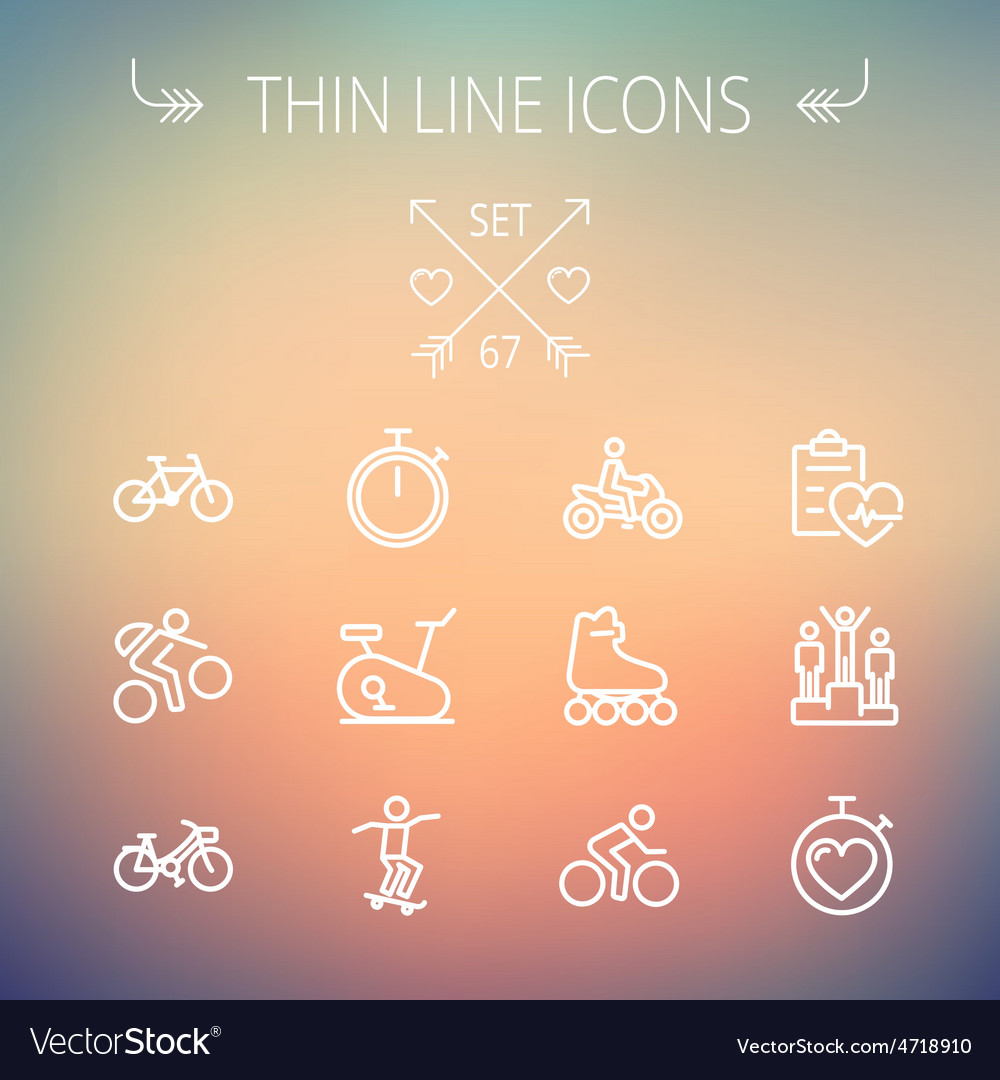 Sports thin line icon set vector   Price: 1 Credit (USD $1)