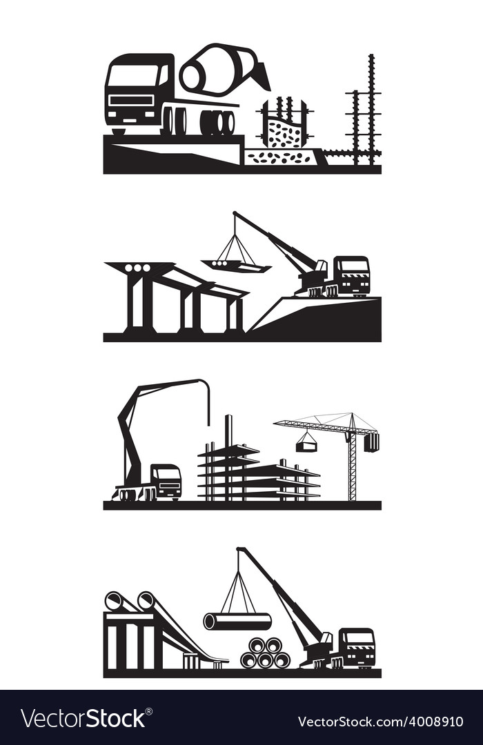 Various types of construction scenes vector | Price: 1 Credit (USD $1)