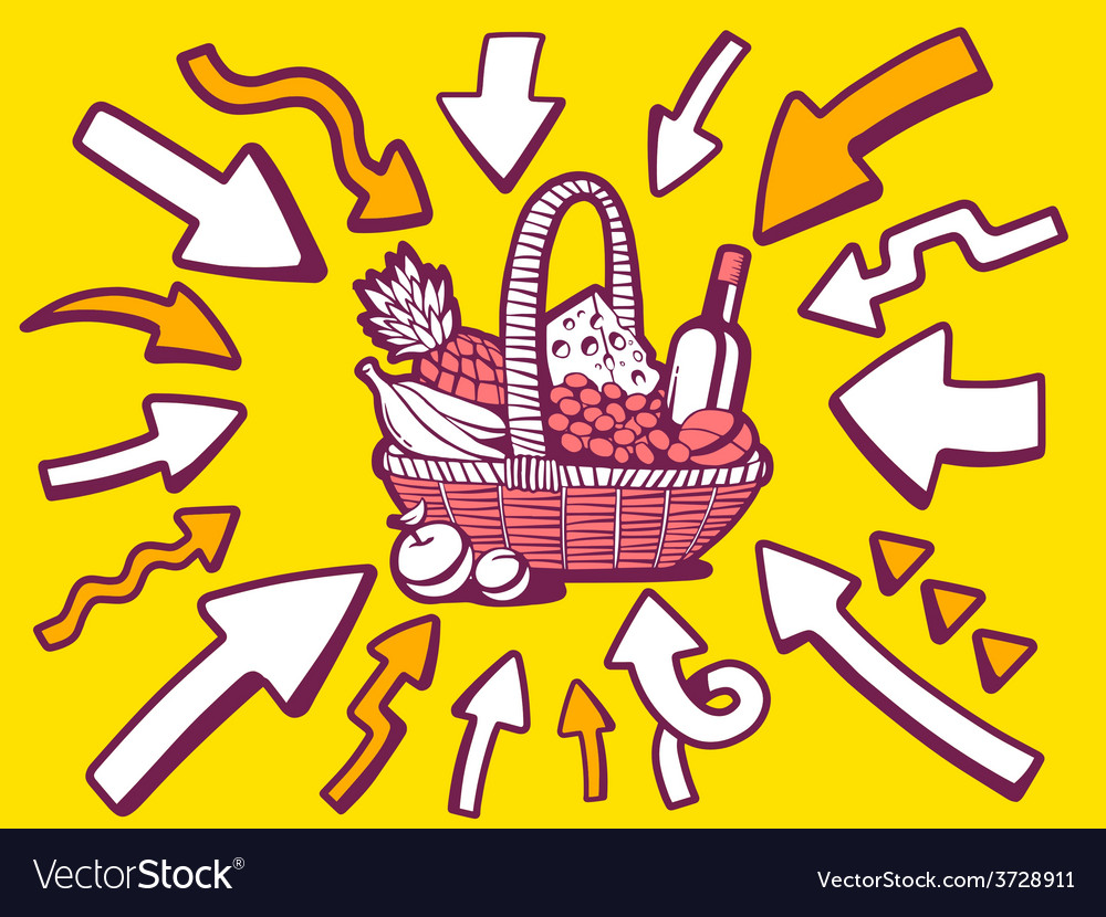 Arrows point to icon of basket with food vector | Price: 1 Credit (USD $1)