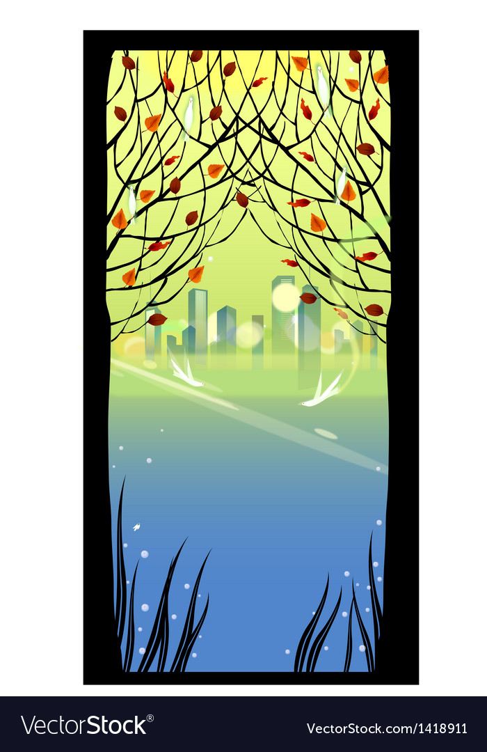 Autumn park cityscape vector | Price: 1 Credit (USD $1)