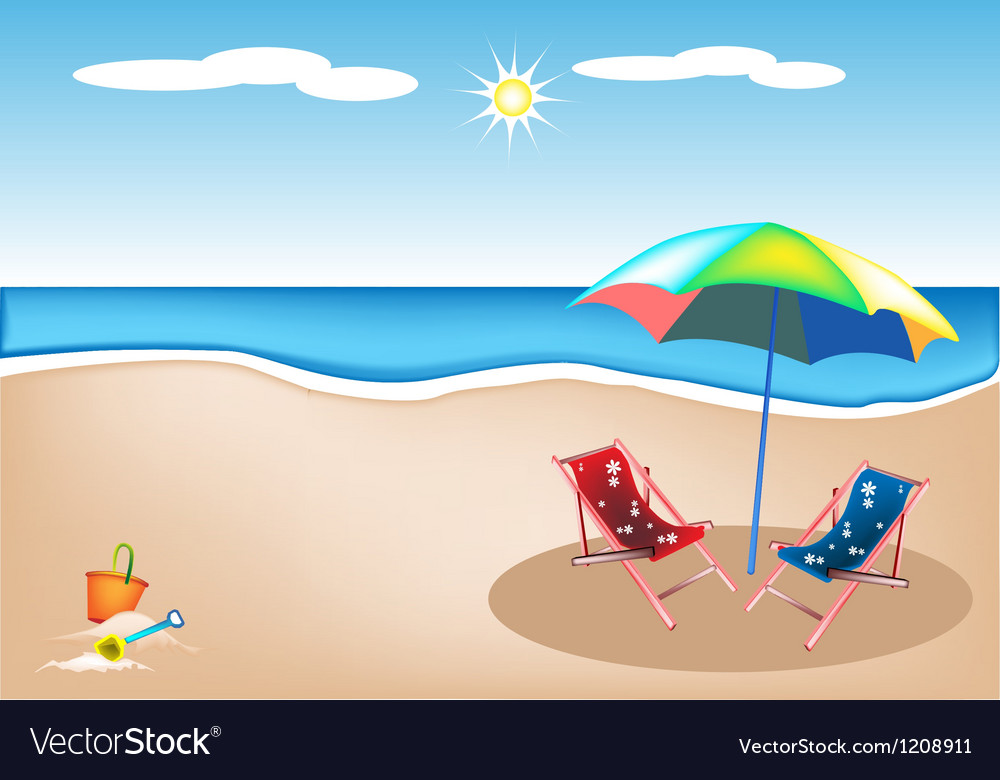 Beach chairs with umbrella and toy vector | Price: 1 Credit (USD $1)
