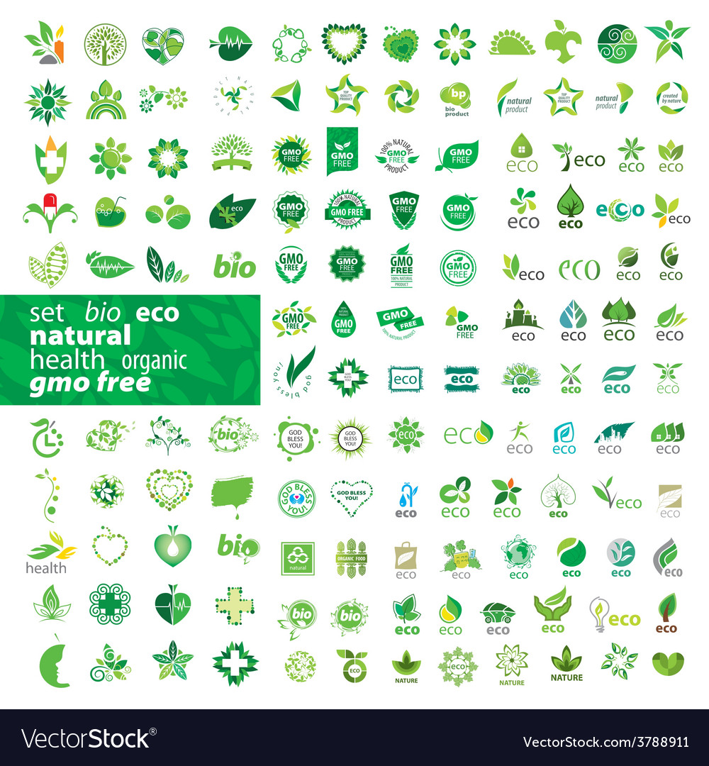 Big set of logos ecology health natural vector | Price: 1 Credit (USD $1)