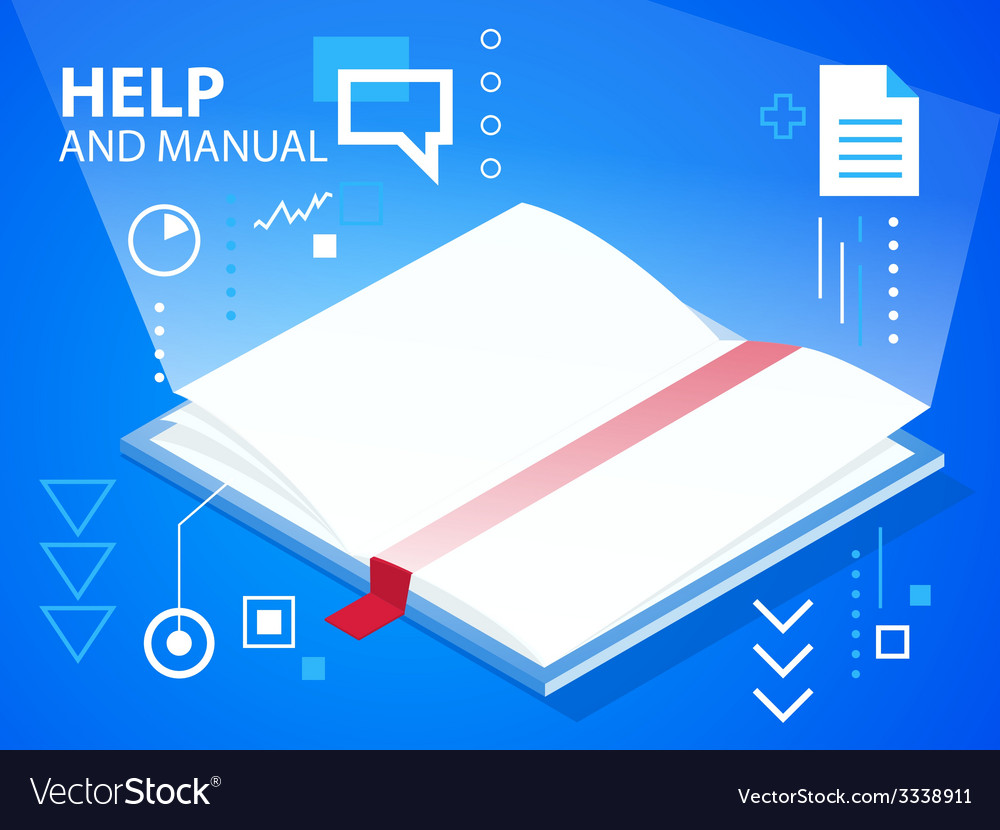 Bright manual on blue background for banner vector | Price: 3 Credit (USD $3)