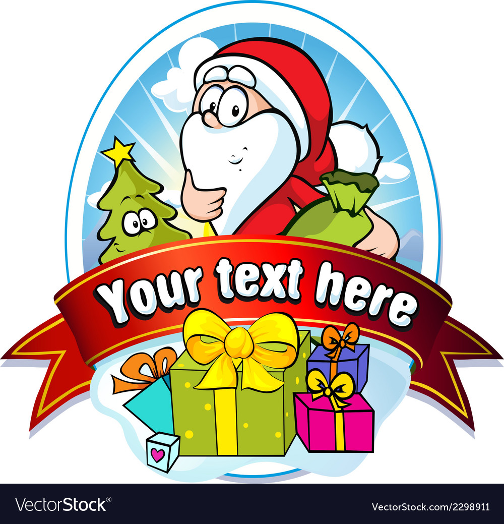 Christmas label with santa claus and gifts vector | Price: 1 Credit (USD $1)