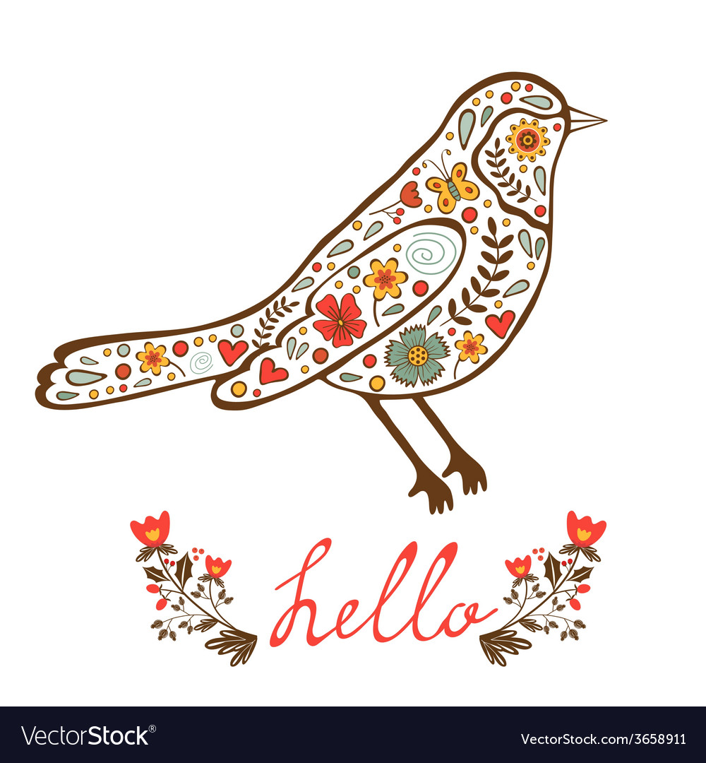 Concept hello card with floral decorative bird vector | Price: 1 Credit (USD $1)
