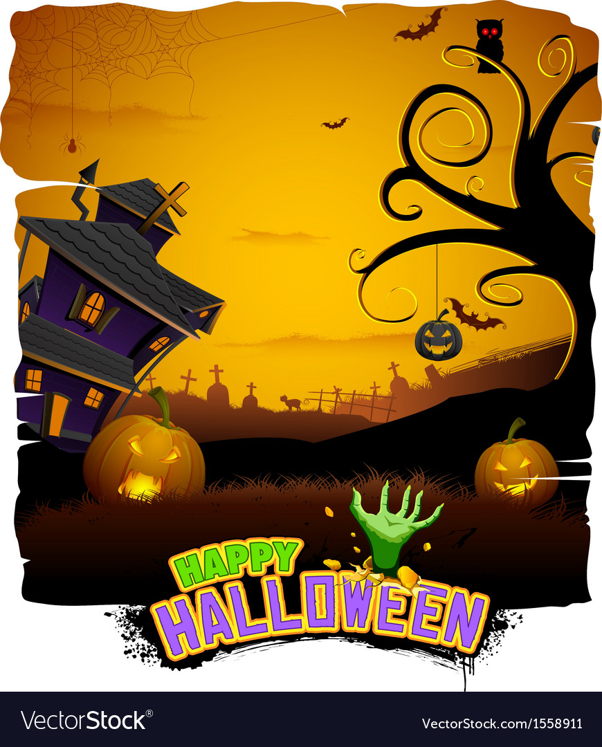 Haunted house in halloween night vector | Price: 1 Credit (USD $1)