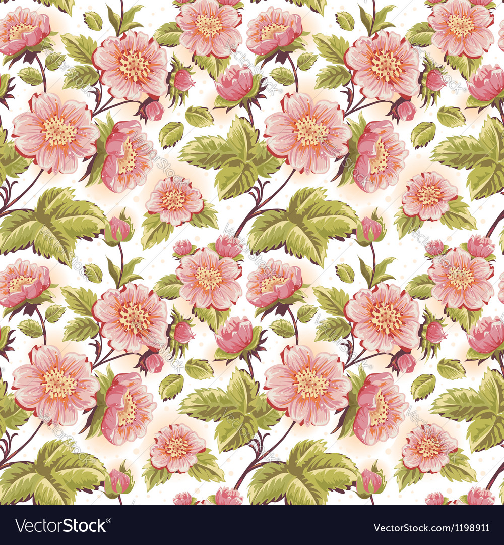 Romantic feminine seamless texture with flowers vector | Price: 1 Credit (USD $1)