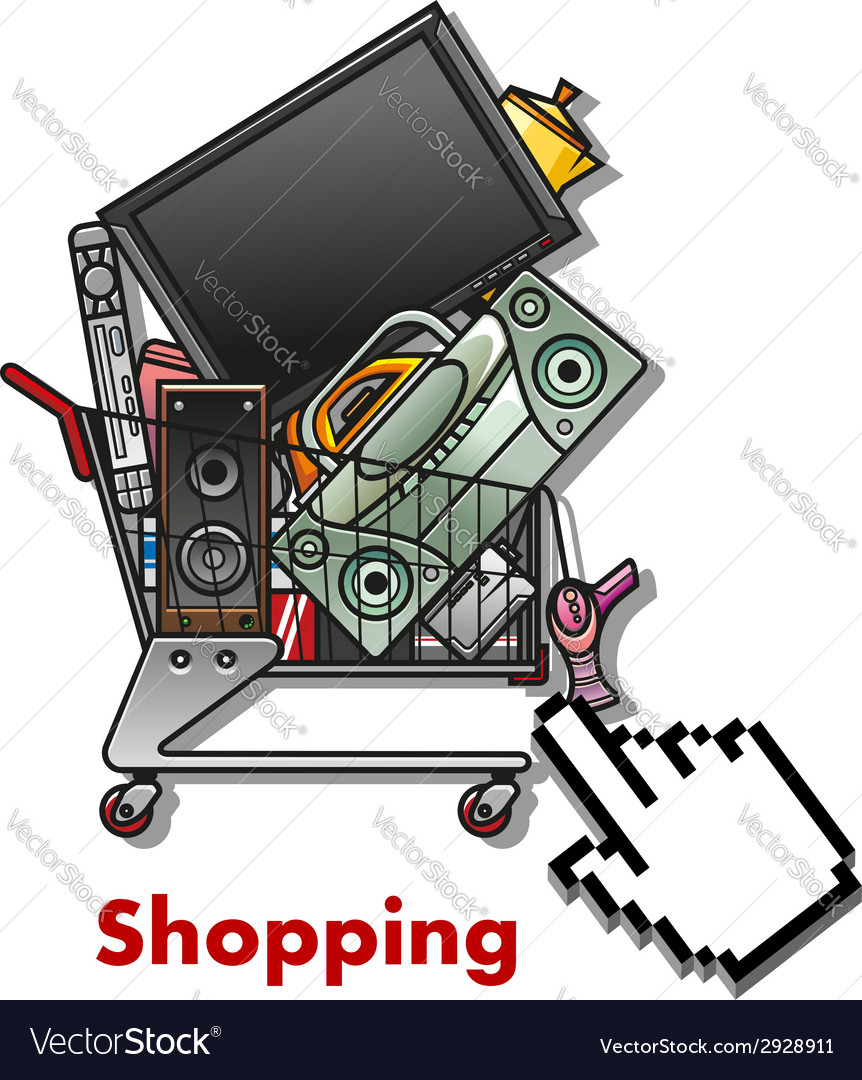 Shopping cart with household appliances vector | Price: 1 Credit (USD $1)