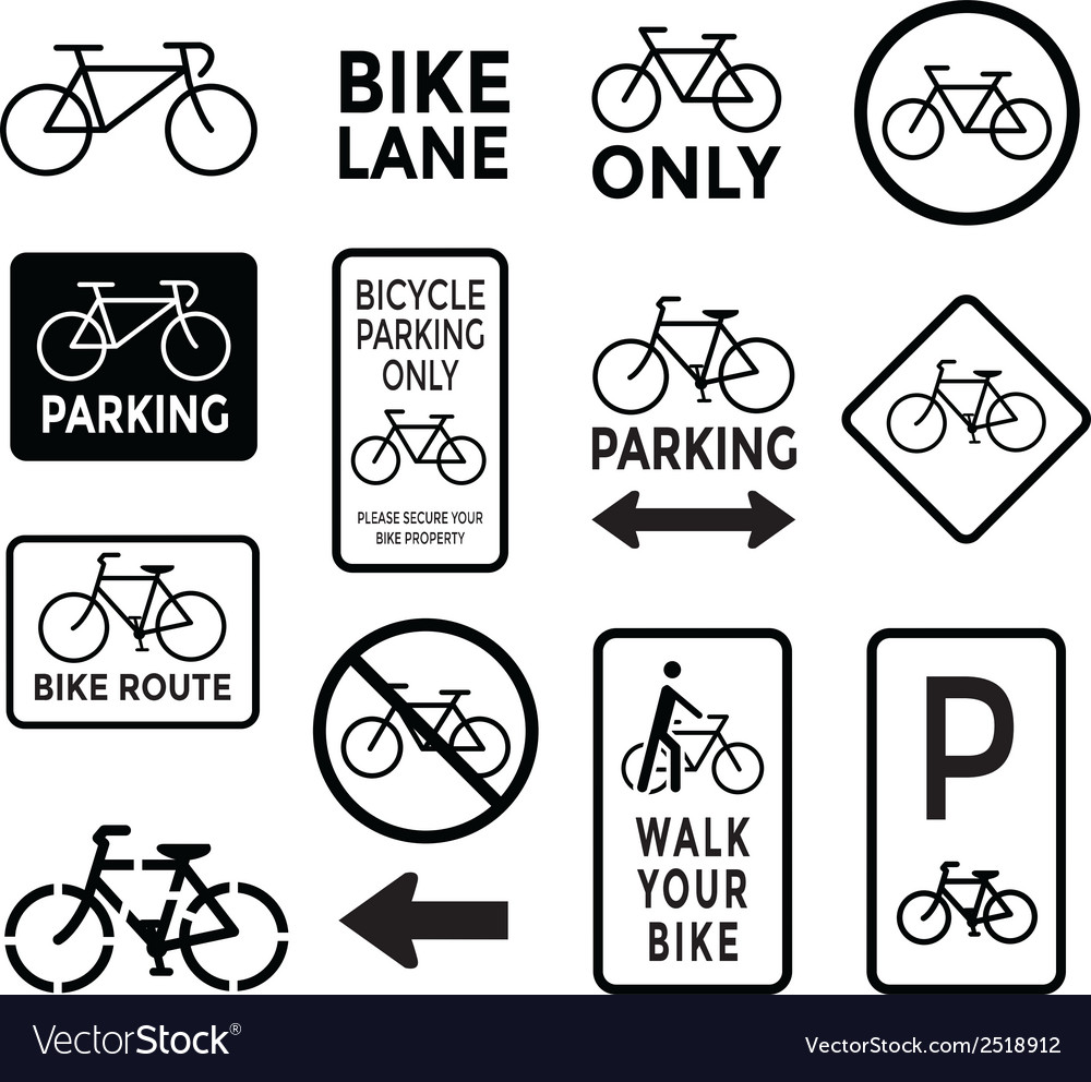 Bicycle signs black and white set vector | Price: 1 Credit (USD $1)