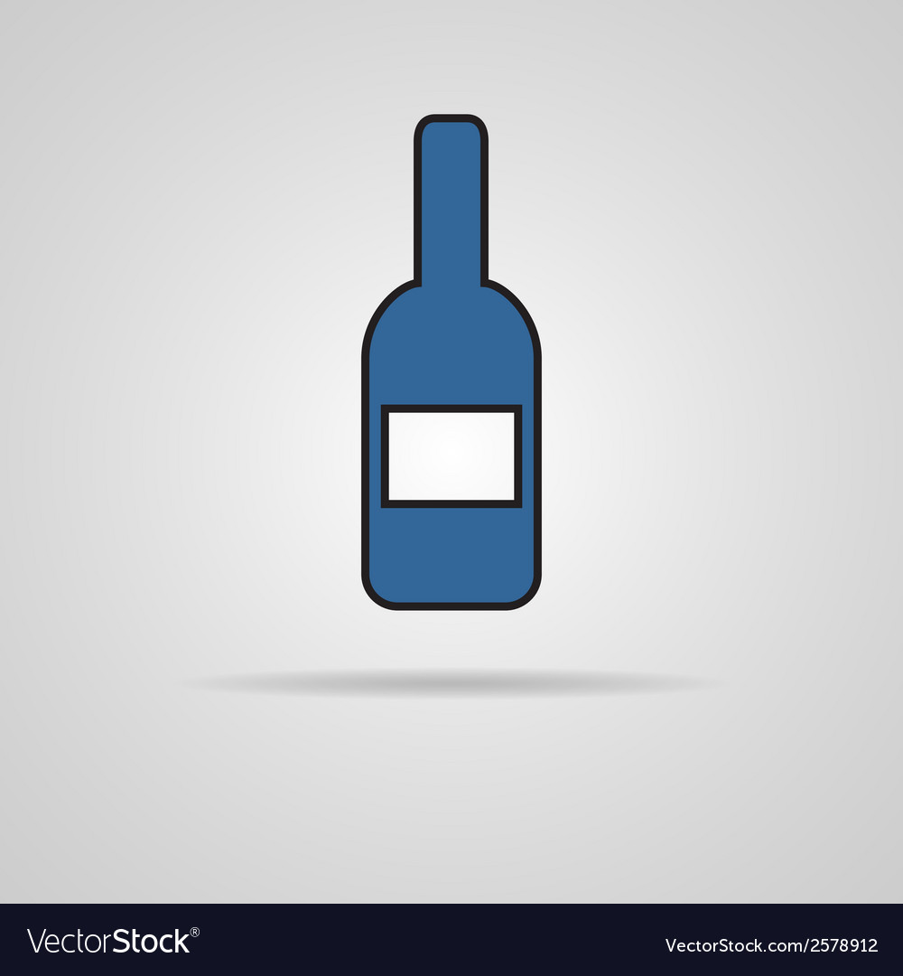 Bottle of wine icon with shadow vector | Price: 1 Credit (USD $1)