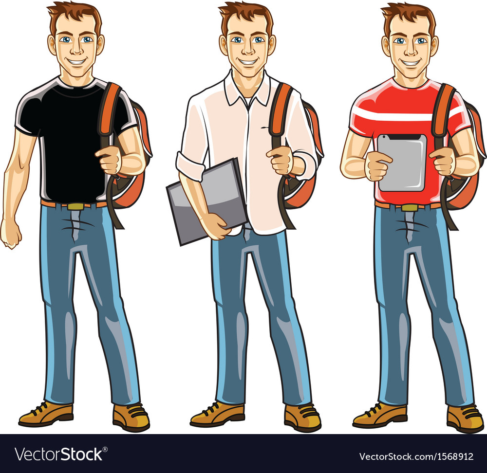 College student boy vector | Price: 1 Credit (USD $1)