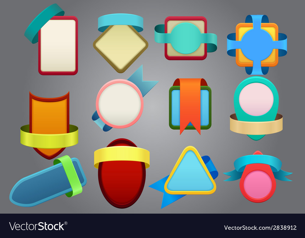 Colorful badges on gray background vector | Price: 1 Credit (USD $1)
