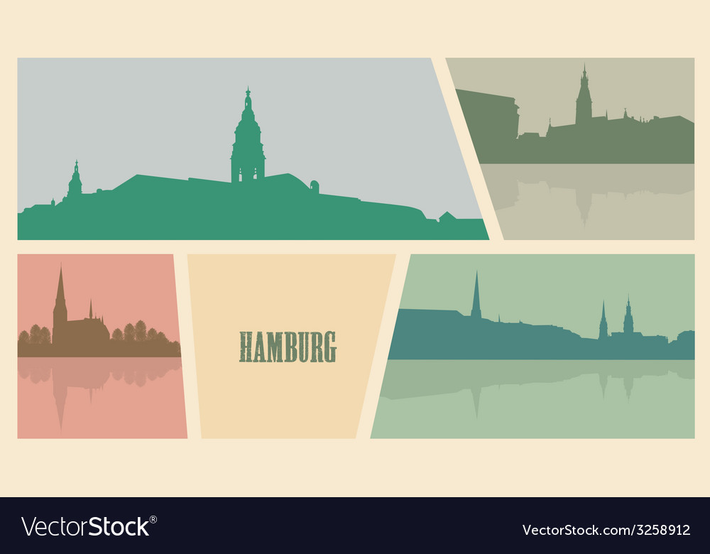 Contour of buildings in the city of hamburg vector | Price: 1 Credit (USD $1)