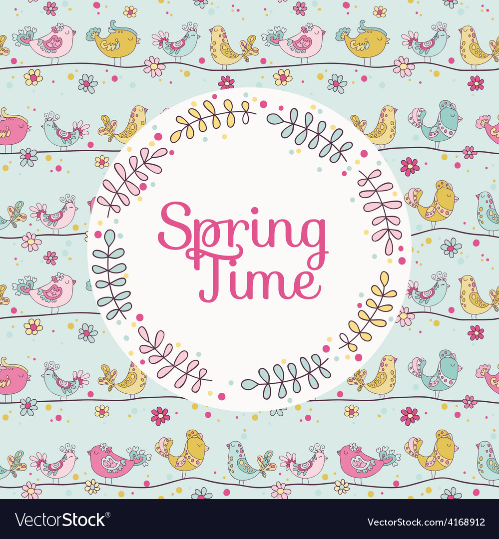 Cute birds card - spring time vector   Price: 1 Credit (USD $1)