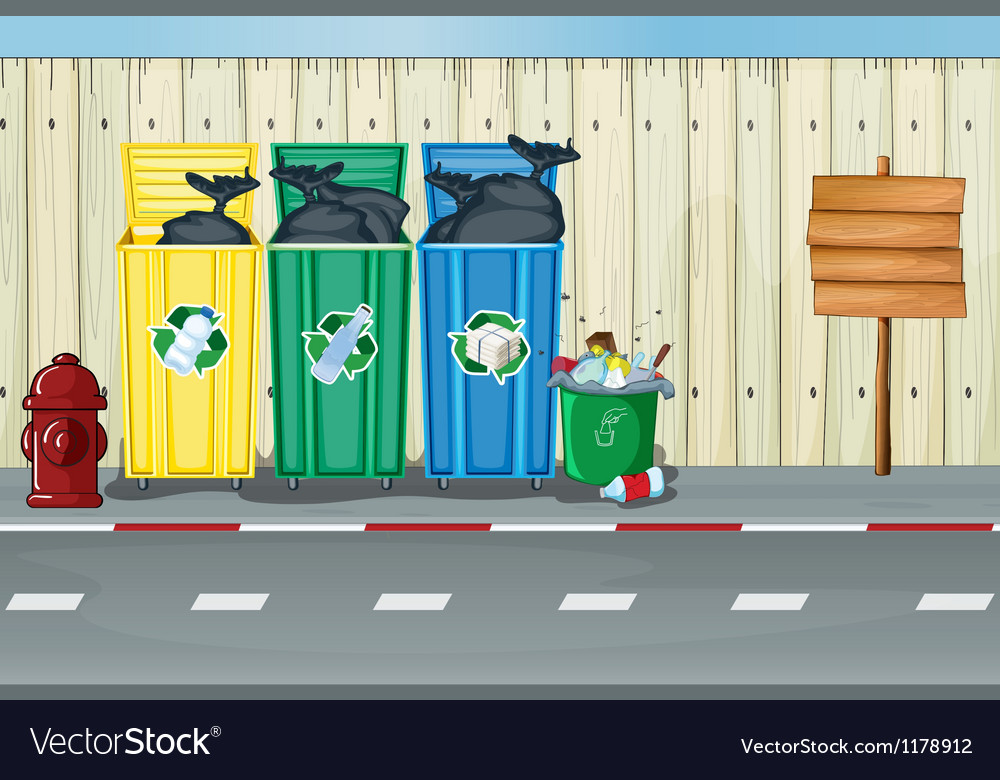 Dustbins a fire hydrant and a notice board vector   Price: 1 Credit (USD $1)
