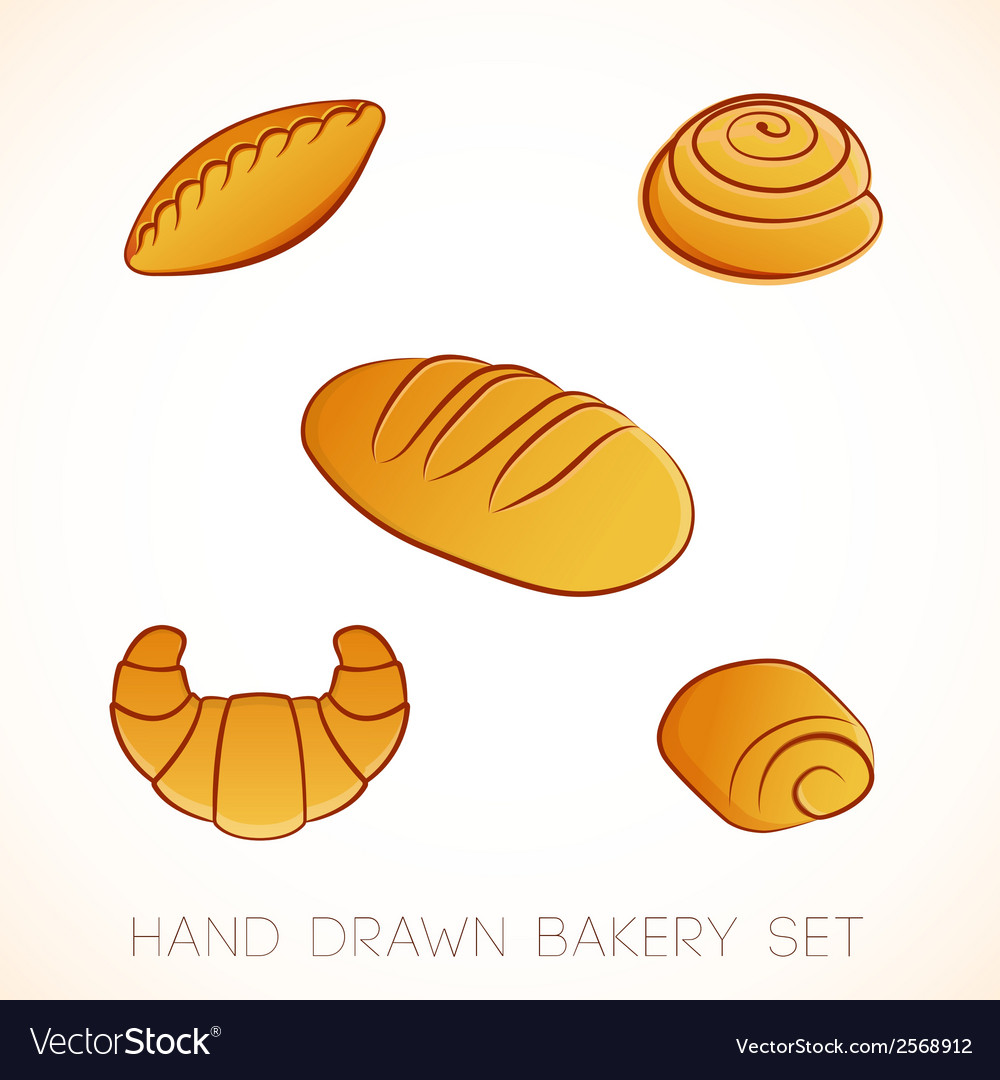 Hand drawn bakery set vector | Price: 1 Credit (USD $1)