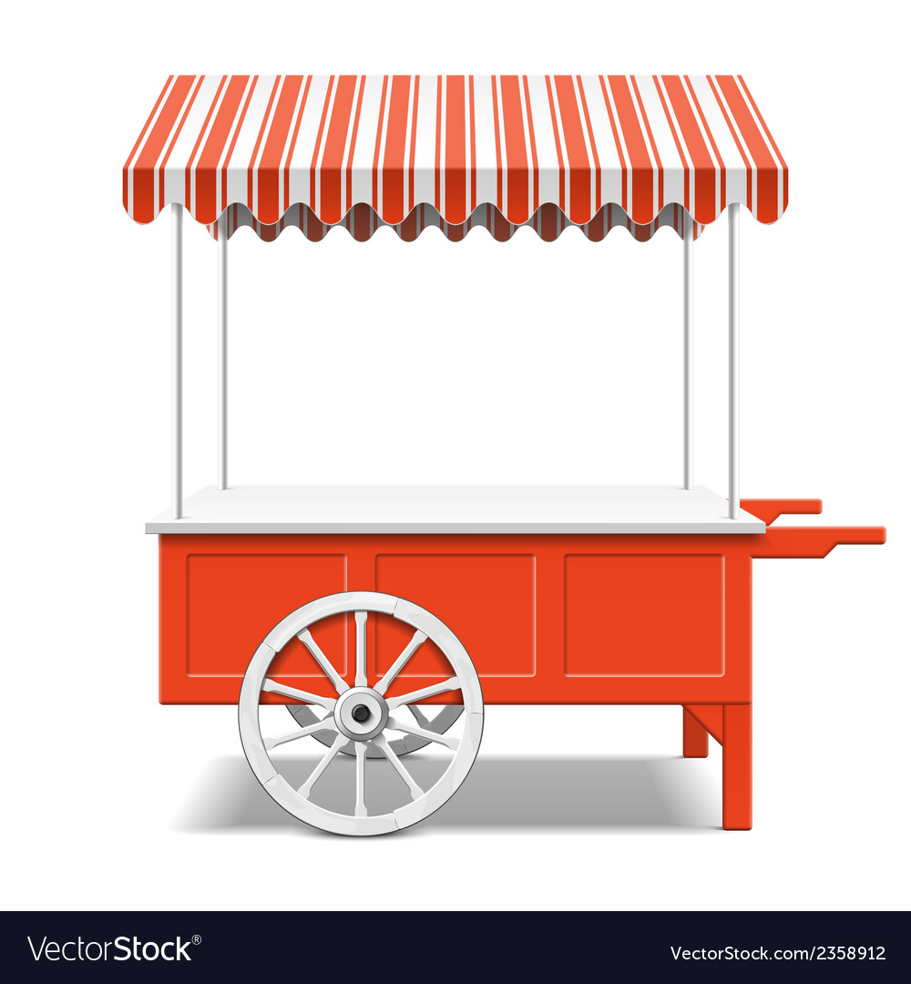 Red farmers market cart vector | Price: 1 Credit (USD $1)