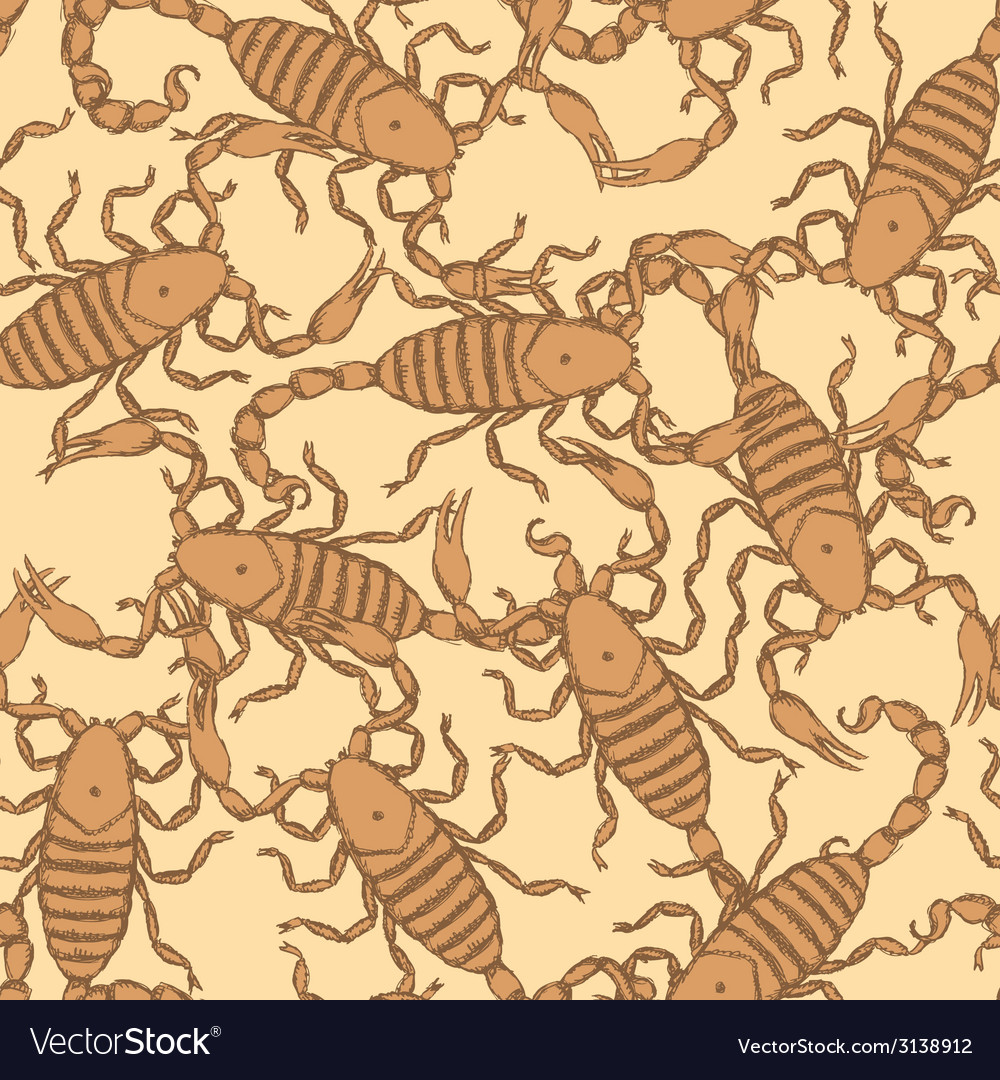 Sketch horrible scorpion in vintage style vector | Price: 1 Credit (USD $1)