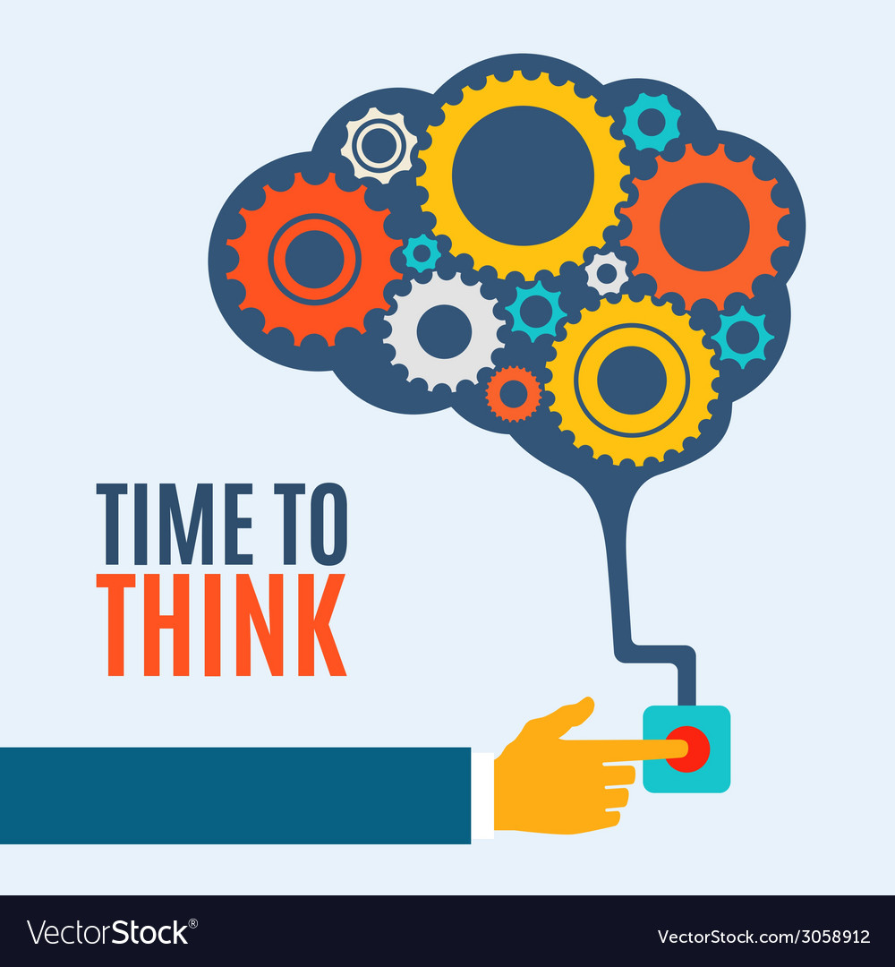 Time to think creative brain idea concept vector | Price: 1 Credit (USD $1)