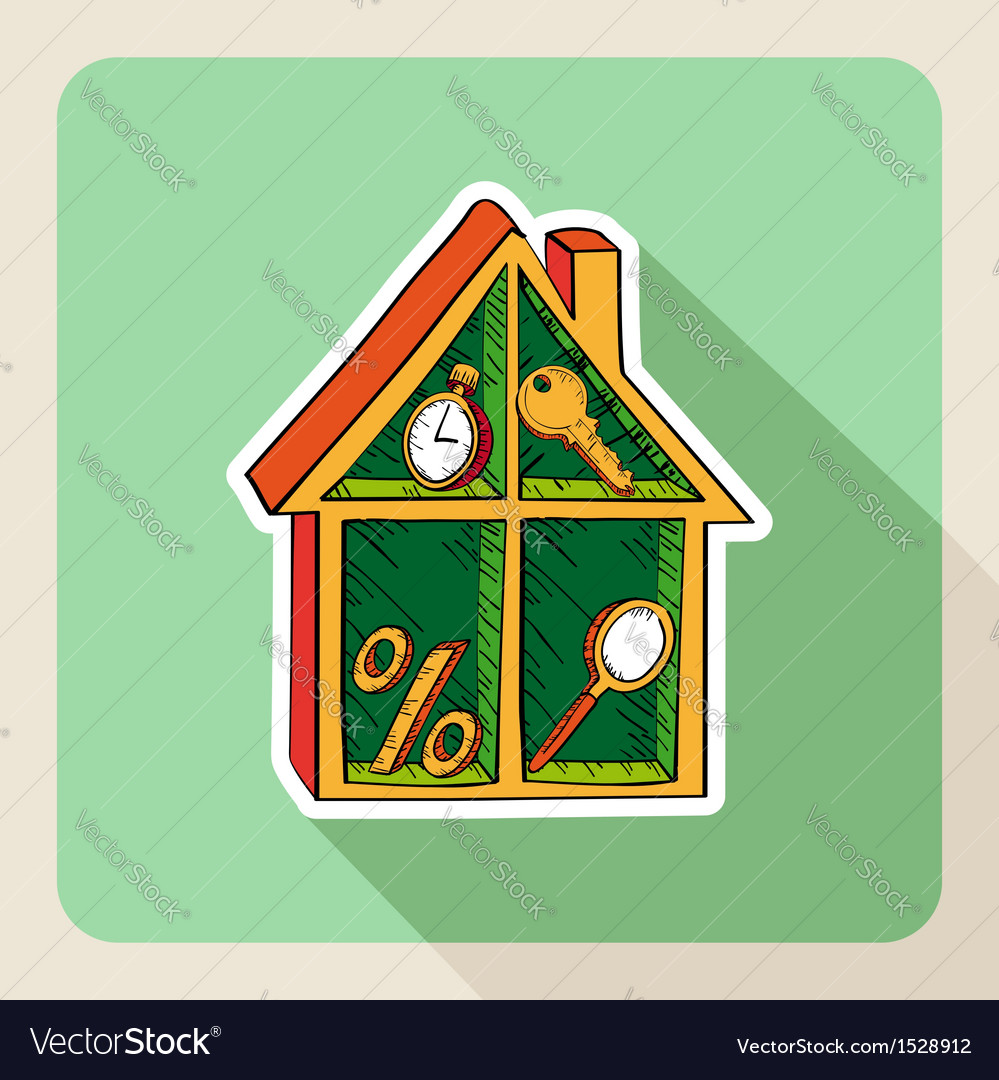 Vintage hand drawn real estate house business vector | Price: 1 Credit (USD $1)