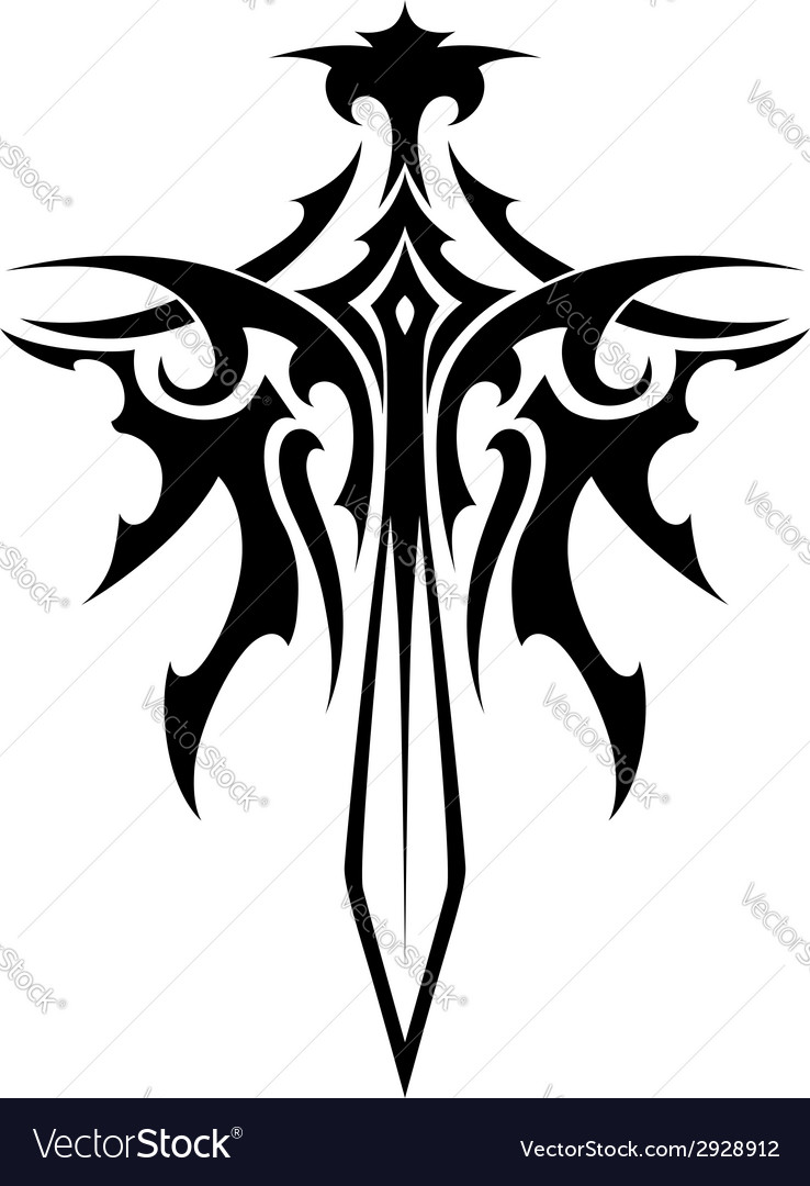 Winged sharp sword tattoo vector | Price: 1 Credit (USD $1)