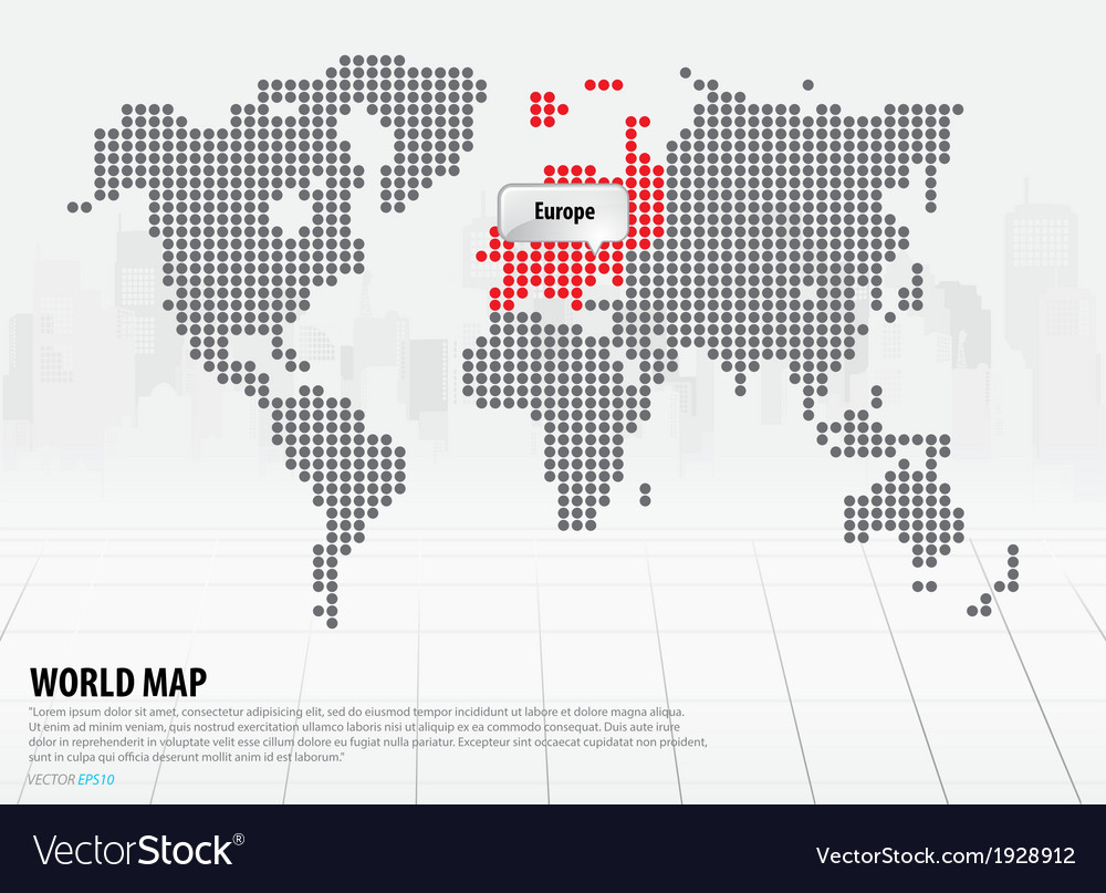 World map with continents europe vector | Price: 1 Credit (USD $1)