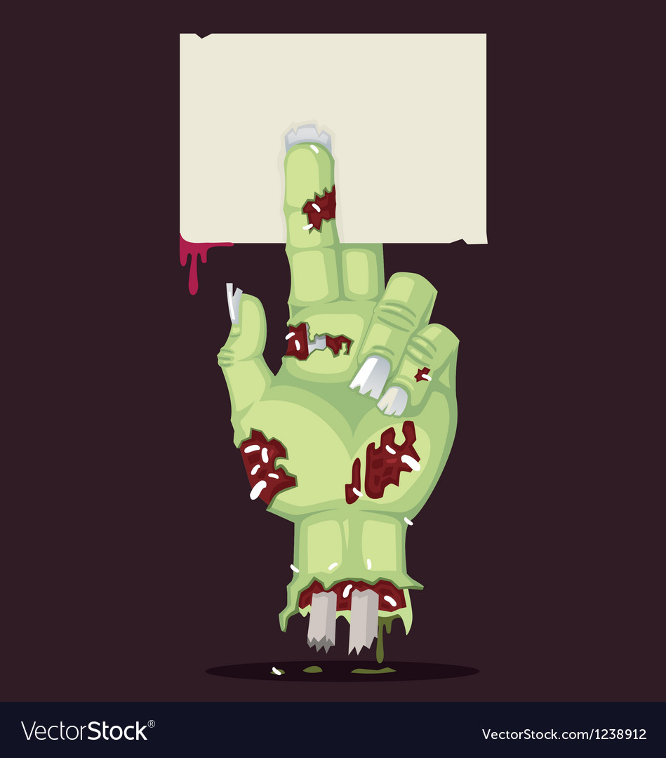 Zombie hand and greeting card vector | Price: 3 Credit (USD $3)