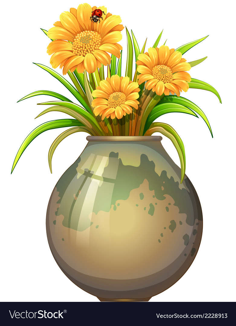 A plant in a pot with blooming flowers vector | Price: 1 Credit (USD $1)