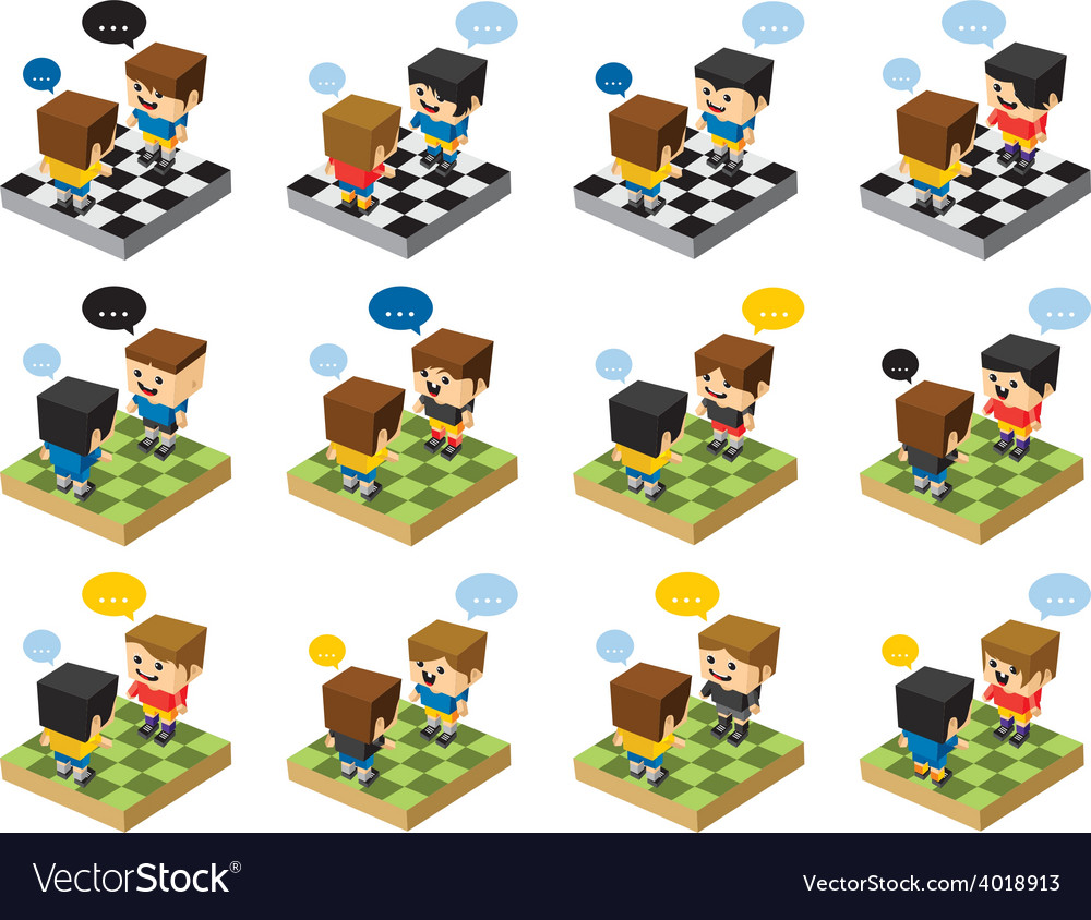 Block isometric cartoon character vector | Price: 1 Credit (USD $1)