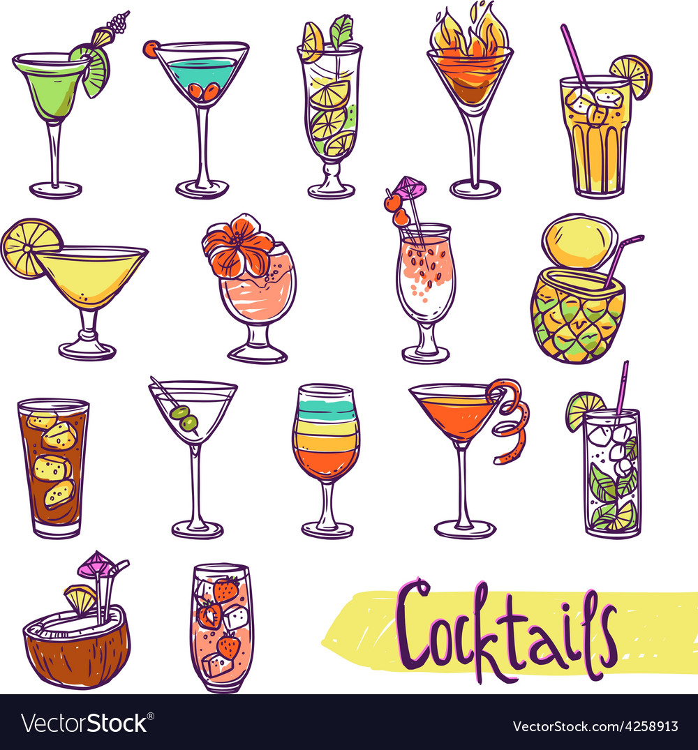 Cocktail sketch set vector | Price: 1 Credit (USD $1)