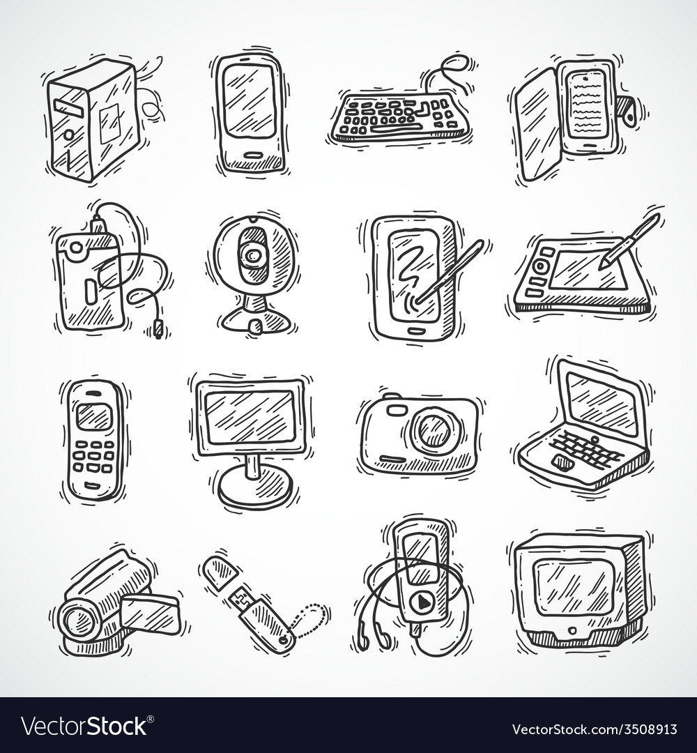 Digital devices set vector | Price: 1 Credit (USD $1)