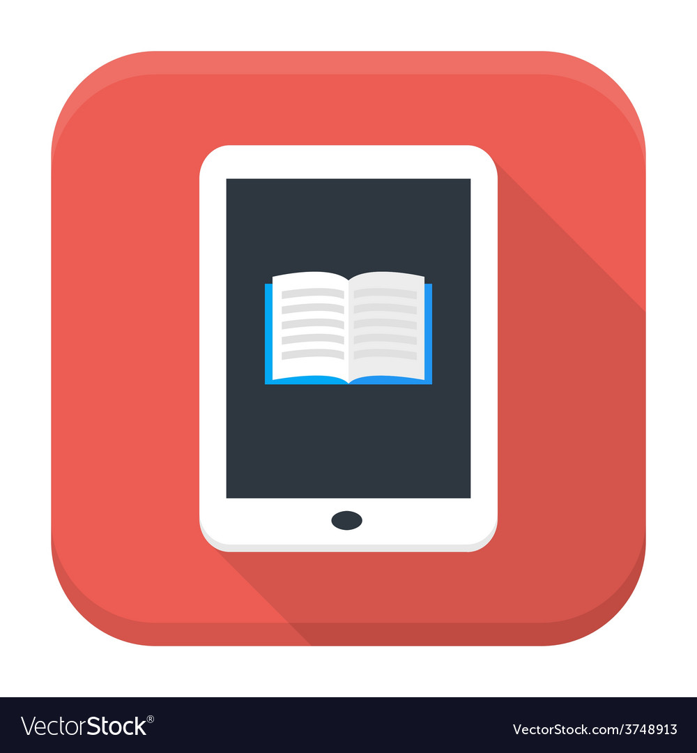 E book app icon with long shadow vector | Price: 1 Credit (USD $1)