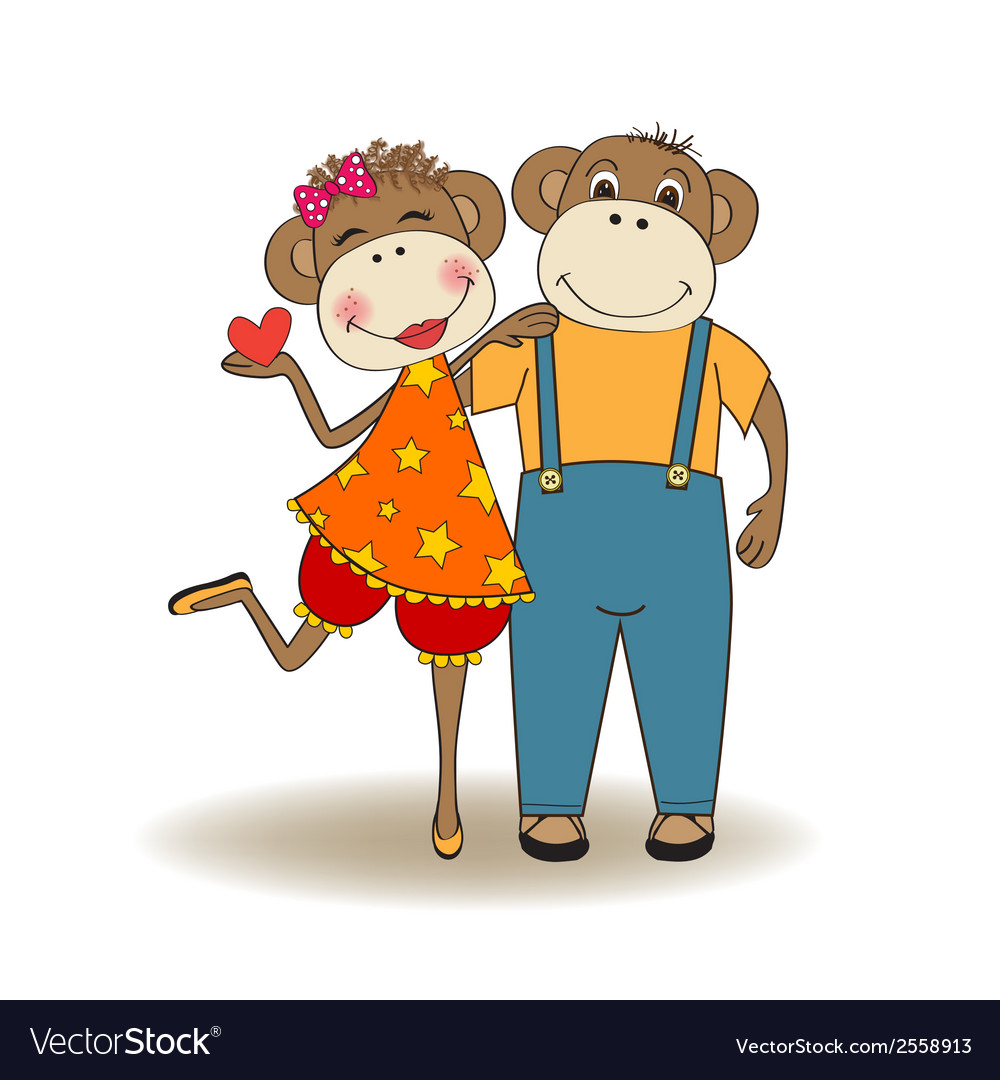 Monkeys couple in love vector | Price: 1 Credit (USD $1)