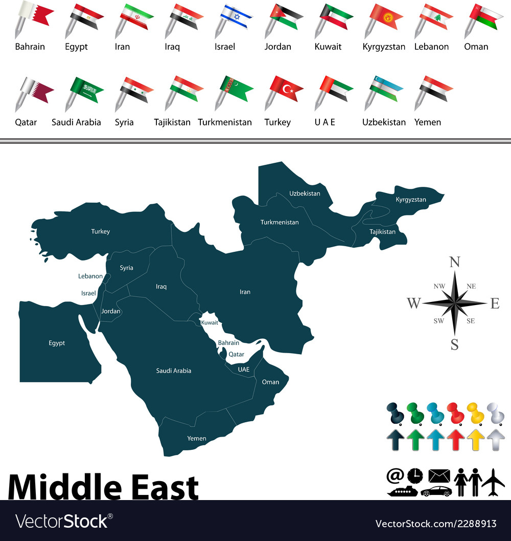 Political map of middle east with flags vector | Price: 1 Credit (USD $1)