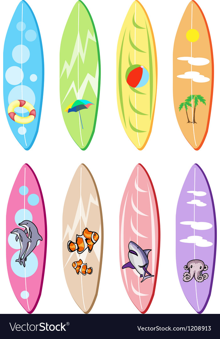 Set of surfboards with different designs vector | Price: 1 Credit (USD $1)