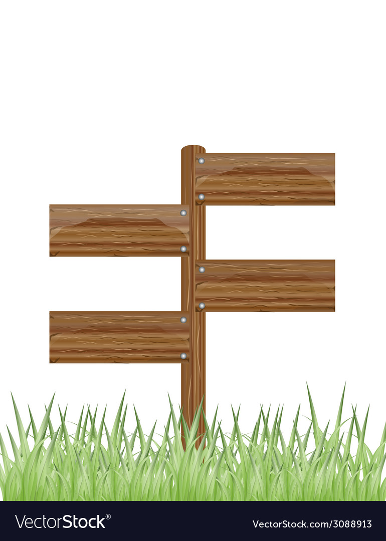 Wooden sign on a grass vector | Price: 1 Credit (USD $1)