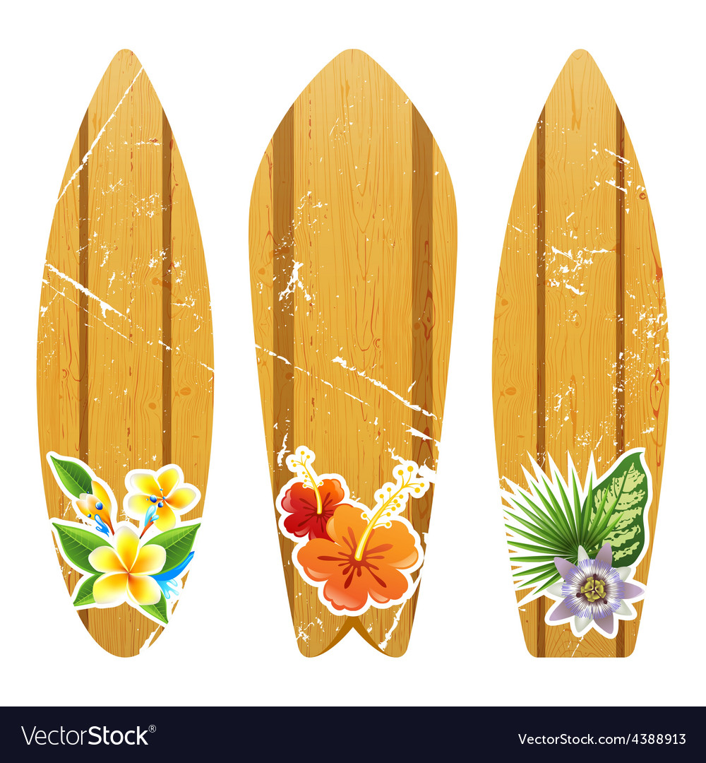 Wooden surfboards with floral prints vector | Price: 1 Credit (USD $1)